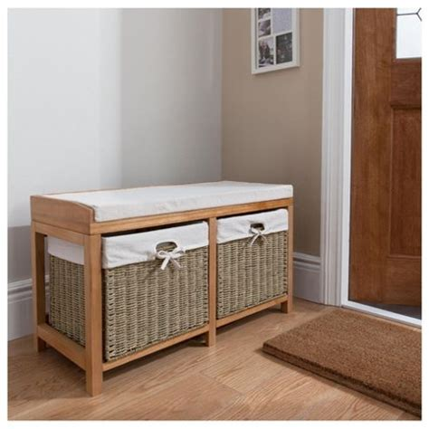 oak storage bench with baskets buy tesco storage bench with wicker baskets oak effect