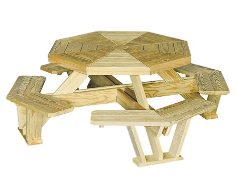 octagon bench 50 quot octagon picnic table with attached benches cape cod