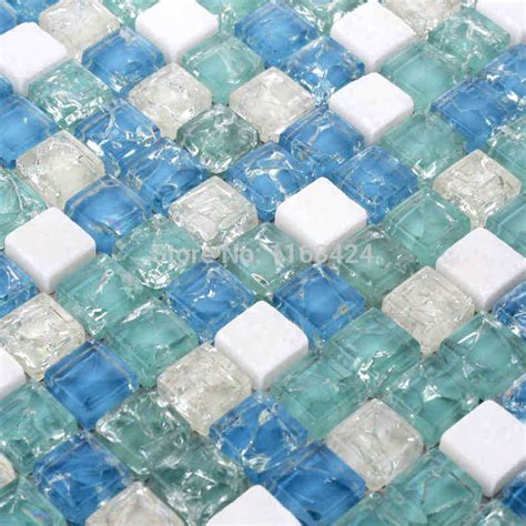Diy Kitchen Backsplash Ideas - ice crackle crystal mosaic tiles blue color glass mixed white stone mosaic square for kitchen