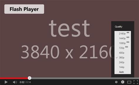 test flash player how to get the 2160p 4k quality option for your