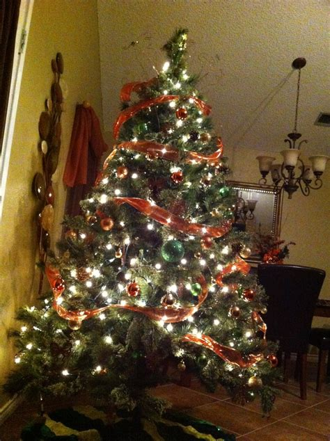 my christmas tree with burnt orange gold and green