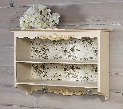 decorative wood antique white wall shelf w vintage rose