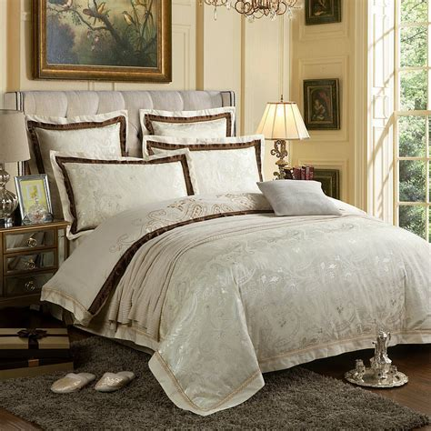 King Size White Duvet Cover Set 6pc Luxury White Silk And Cotton Bedding Sets