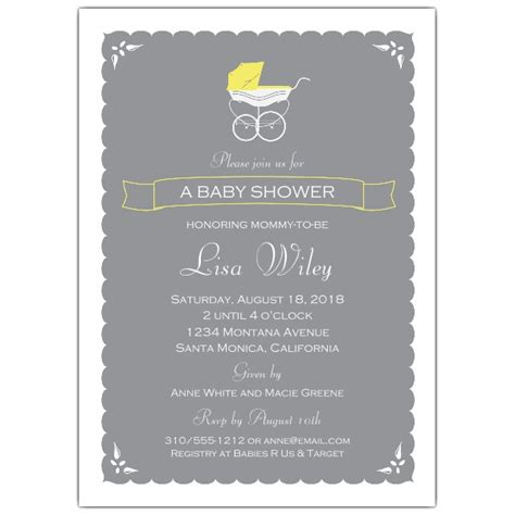 Neutral Baby Shower Invitations by A Vintage Stroller Neutral Baby Shower Invitations Paperstyle