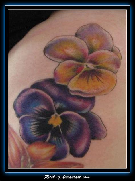tattoo flower pansy pansies by ritch g on deviantart