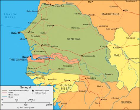 political map of senegal senegal map and satellite image