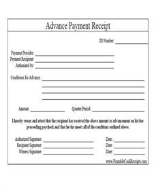 advance payment receipt template 6 sle rent payment receipts free sle exle