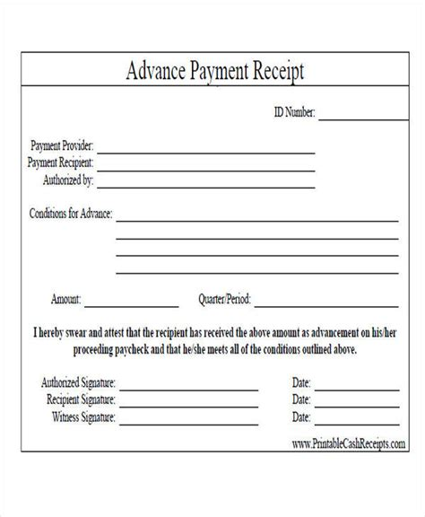 advance payment receipt template 28 images 18 receipt