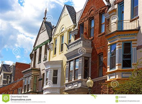 old residential section of washington dc residential row houses in washington dc usa stock photo