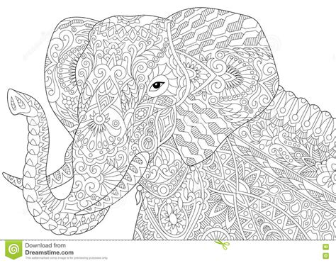 zen coloring pages elephant zentangle stylized elephant stock vector image 76792475