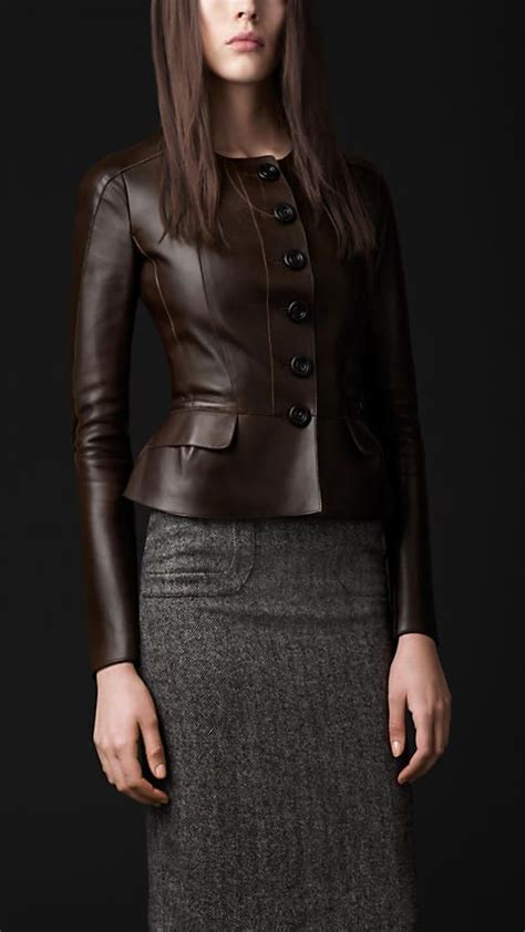 hot chocolate burberry brown leather jacket tweed pencil