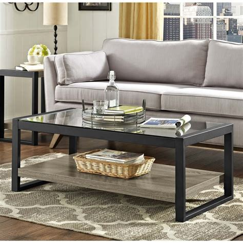 walker edison coffee table walker edison blend coffee table with glass top