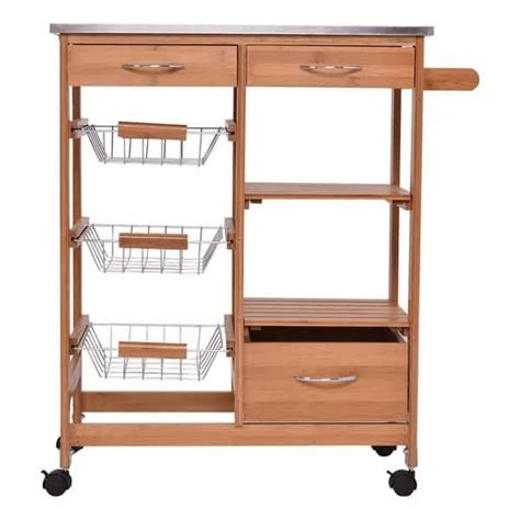 rolling storage drawers lovely costway bamboo rolling