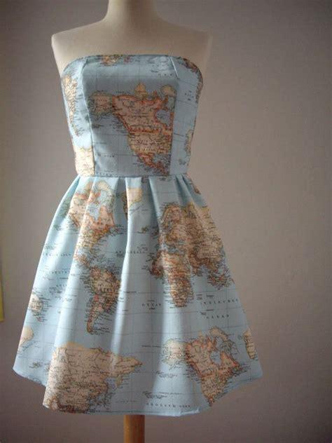 world map dress printed strapless cotton summer dress