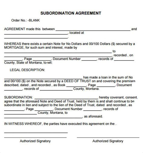 subordination agreement 8 free samples examples format