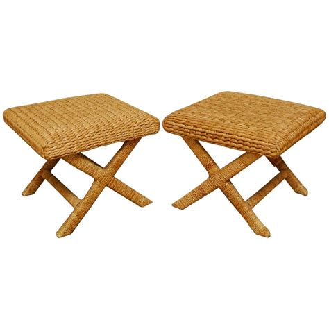seagrass bench pair of woven seagrass x base benches or stools at 1stdibs