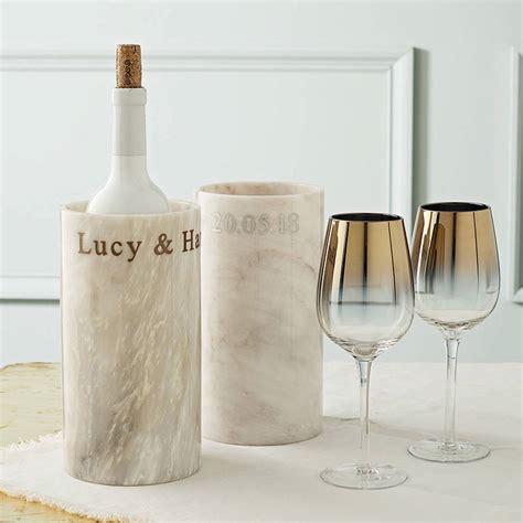 personalised marble wine cooler  marbletree