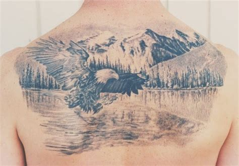 Eagle Tattoo With Mountains   eagle mountains and lake tattoo tatts pinterest
