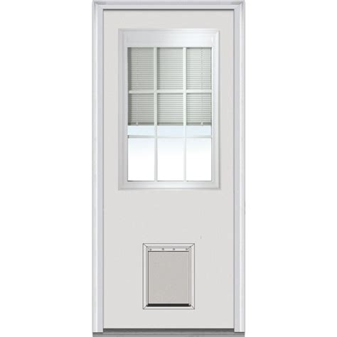 Exterior Doors With Pet Door Mmi Door 32 In X 80 In Blinds Gbg Right 1 2 Lite Classic Primed Fiberglass