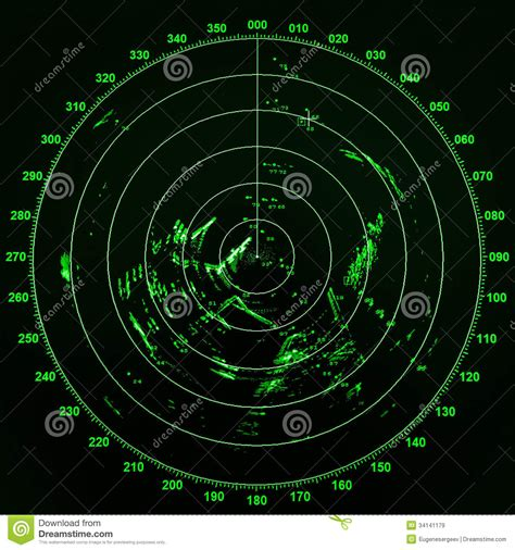 global boat shipping leer modern ship radar screen with green round map stock image
