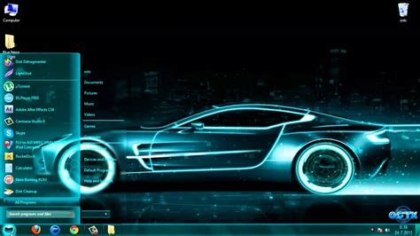 neon themes for windows 10 blue neon glass windows 7 theme by megabink youtube