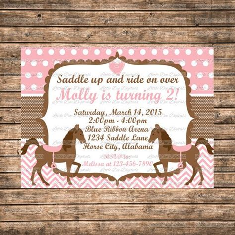 printable birthday invitations horse theme personalized pink and brown horse themed birthday party