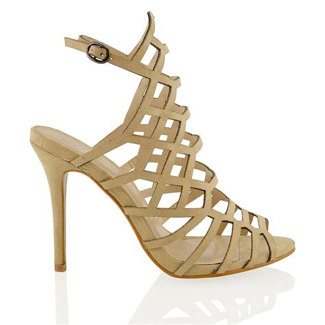 caged sandals heels new womens high stiletto heel cut out peep toe