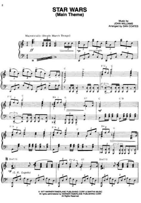 theme songs by john williams john williams star wars main theme sheet music