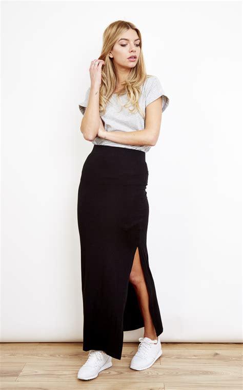 Black Slit Roses S M L Skirt 43355 1 black maxi slit skirt silkfred