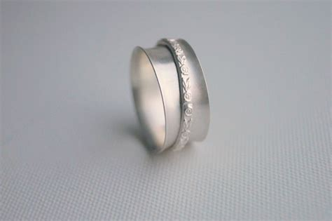 Sterling Silver Handmade Rings - sterling silver spinner ring handmade embossed flower