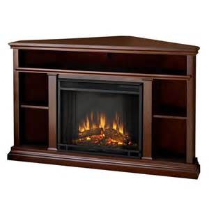 Dark Wood Patio Furniture Real Flame Churchill Corner Electric Fireplace