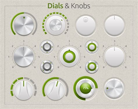 subtle dials knobs user interface web elements on