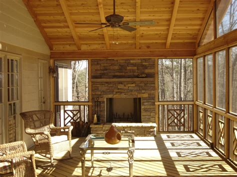screened in porch designs with fireplace stone outdoor fireplace on screened porch archadeck