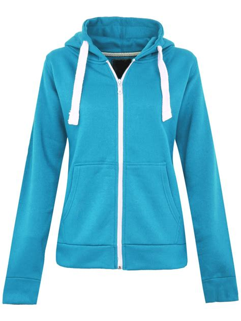 Plain Zip Detail Zip Jacket womens plus sizes plain zip hoodie zip top hooded