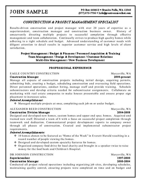 Resume Tips Projects Construction And Project Management Specialist Resume