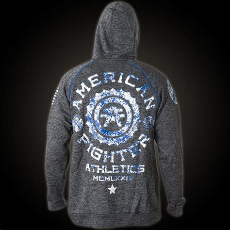 Hoodie Sweater Fighter Fei Grey Backfront Logo american fighter by affliction hoodie with an af logo print