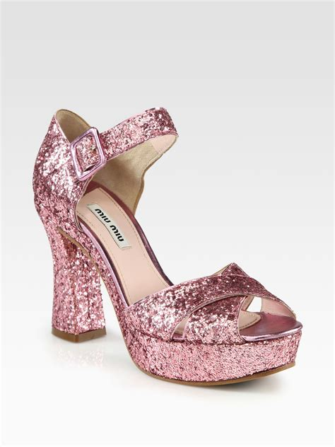 miu miu sandals miu miu glitter crisscross platform sandals in pink lyst