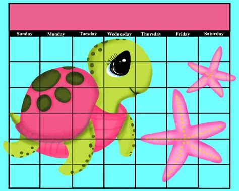 printable calendar girly 2016 pink sea turtle turtles starfish girly purple calendar