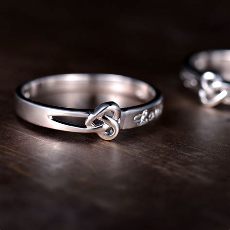 knot engraved promise rings for couples