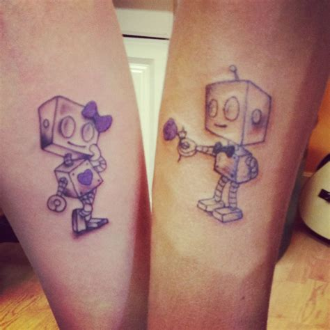 cartoon couple tattoos matching robot i got with my fianc 233 on his