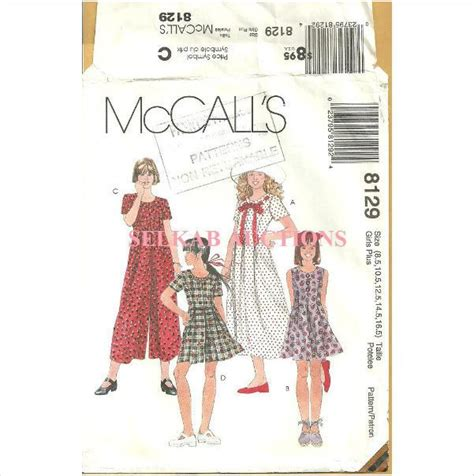 patterns sewing canada mccalls 8129 sewing pattern girls plus jumpsuit romper