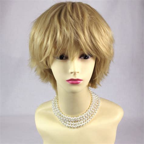 short spikey hairpice wiwigs striking blonde man s wig short spikey style lady
