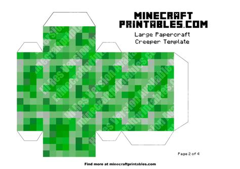 Minecraft Printable Paper Crafts - creeper printable minecraft creeper papercraft template