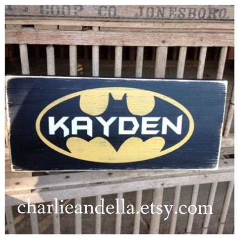 batman personalized name sign distressed painted wall