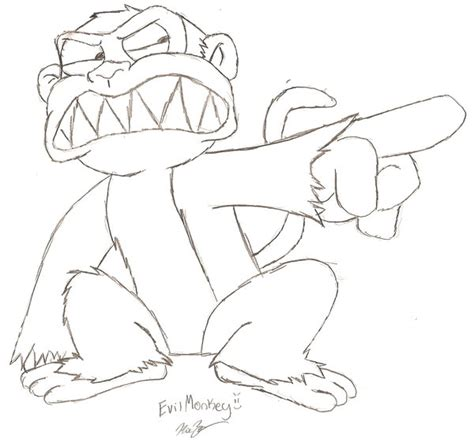 evil monkey coloring pages evil monkey drawing