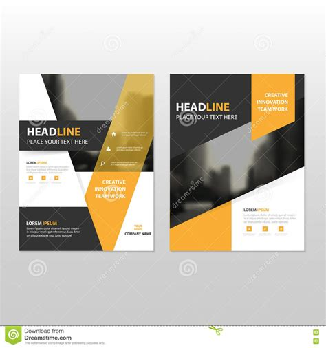 leaflet cover layout yellow black vector annual report leaflet brochure flyer