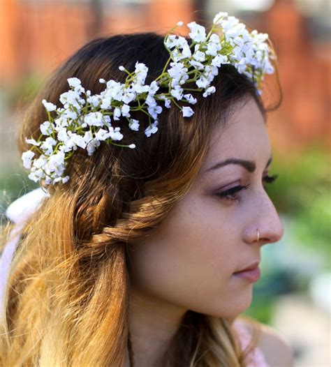 Wedding Hairstyles With Gypsophila by White Gypsophila Crown Babys Breath Flower Crown Babays