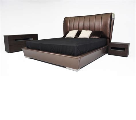 Leather Platform Bed Dreamfurniture Caesar Italian Classical Design Leather Platform Bed