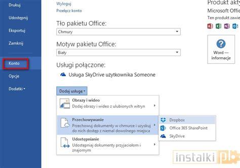 dropbox zaloguj office 2013 dodawanie obsługi google drive i dropbox
