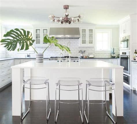 contemporary kitchen island legs stunning monochromatic white kitchen features three clear